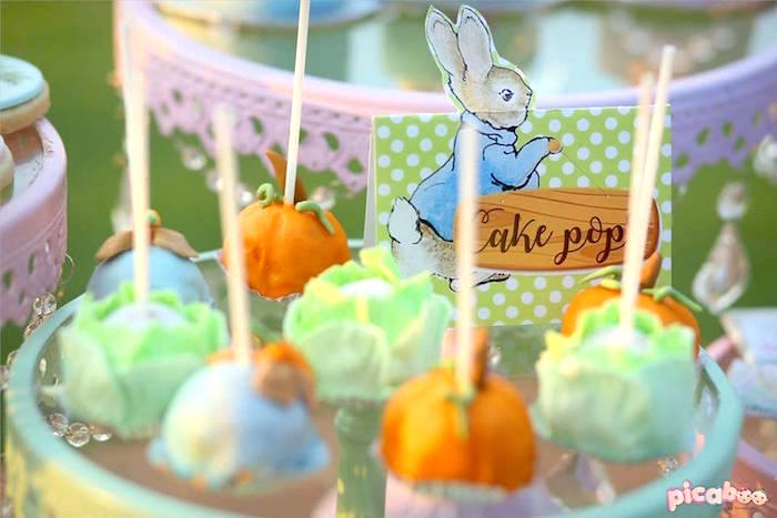 Cake pops from a Peter Rabbit Garden Birthday Party on Kara's Party Ideas | KarasPartyIdeas.com (21)