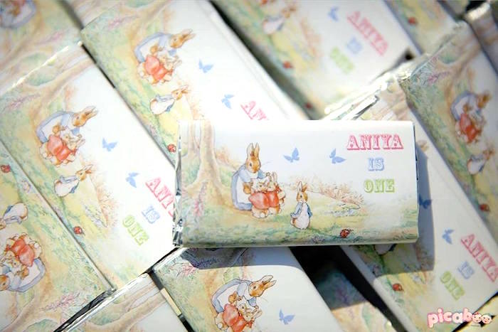 Custom Peter Rabbit candy bar wrappers from a Peter Rabbit Garden Birthday Party on Kara's Party Ideas | KarasPartyIdeas.com (19)