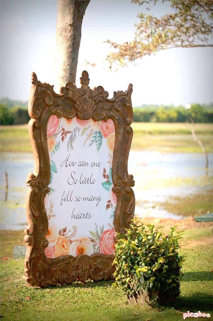 Framed party sign from a Peter Rabbit Garden Birthday Party on Kara's Party Ideas | KarasPartyIdeas.com (17)