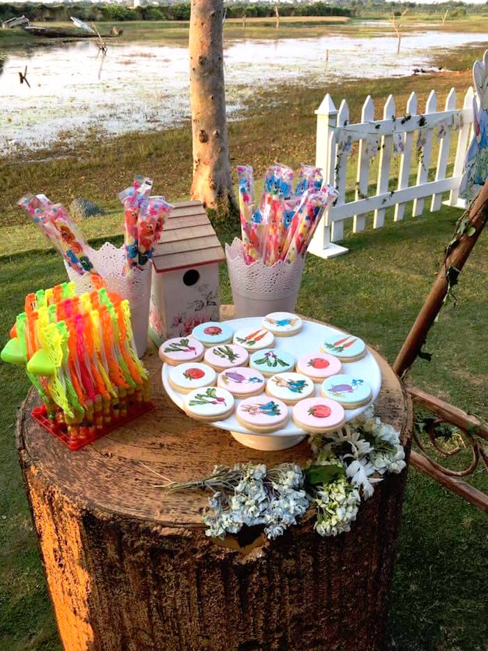 Favors and sweets from a Peter Rabbit Garden Birthday Party on Kara's Party Ideas | KarasPartyIdeas.com (12)