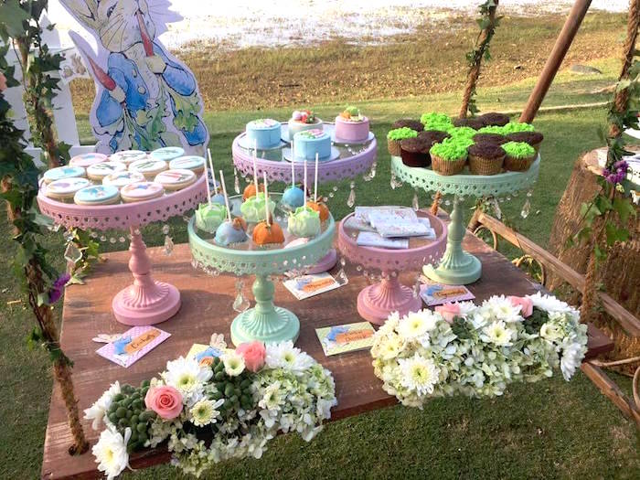 Suspended sweet table from a Peter Rabbit Garden Birthday Party on Kara's Party Ideas | KarasPartyIdeas.com (11)
