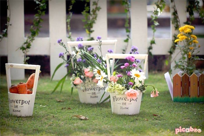 Flower pots from a Peter Rabbit Garden Birthday Party on Kara's Party Ideas | KarasPartyIdeas.com (33)