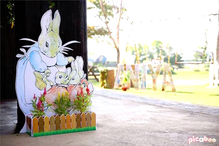Standee from a Peter Rabbit Garden Birthday Party on Kara's Party Ideas | KarasPartyIdeas.com (29)