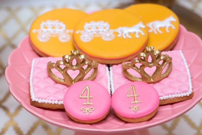 Princess-inspired cookies from a Pink and Gold Princess Birthday Party on Kara's Party Ideas | KarasPartyIdeas.com (9)