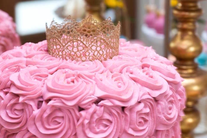 Pink rosette cake topped with a lace crown from a Pink and Gold Princess Birthday Party on Kara's Party Ideas | KarasPartyIdeas.com (8)