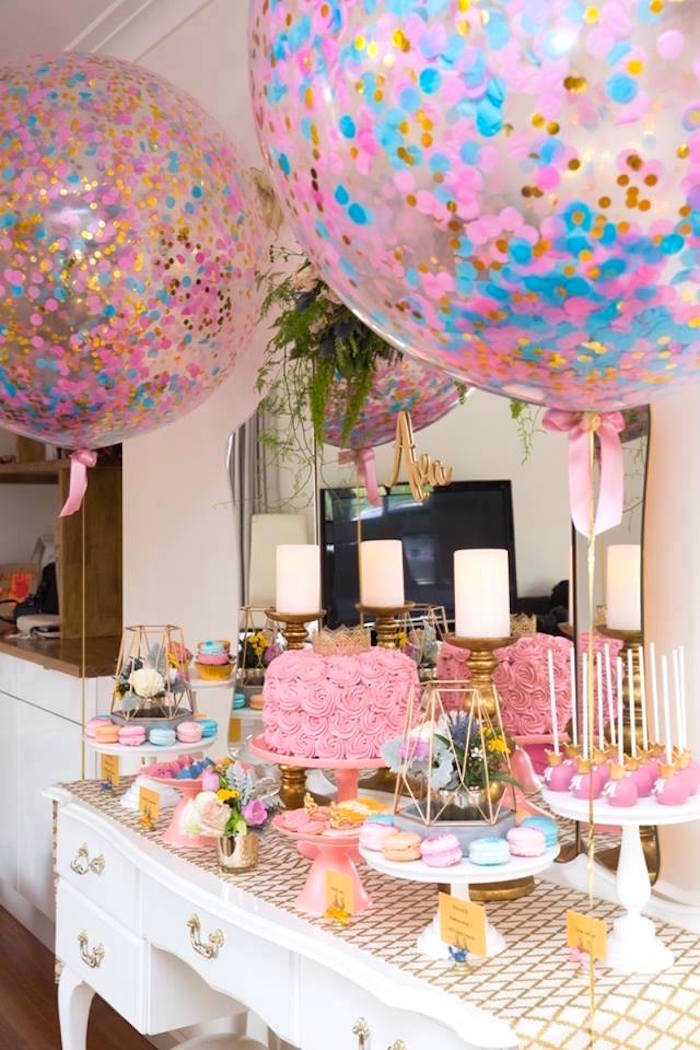 Dessert table from a Pink and Gold Princess Birthday Party on Kara's Party Ideas | KarasPartyIdeas.com (7)
