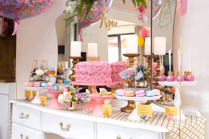 Dessert tablescape from a Pink and Gold Princess Birthday Party on Kara's Party Ideas | KarasPartyIdeas.com (6)