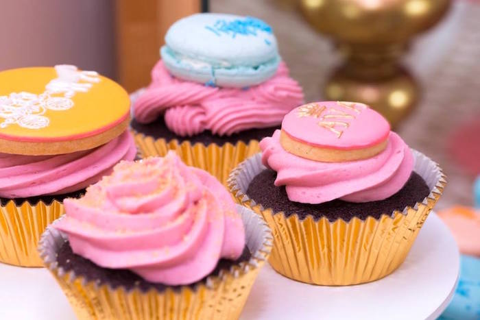 Cupcakes from a Pink and Gold Princess Birthday Party on Kara's Party Ideas | KarasPartyIdeas.com (16)