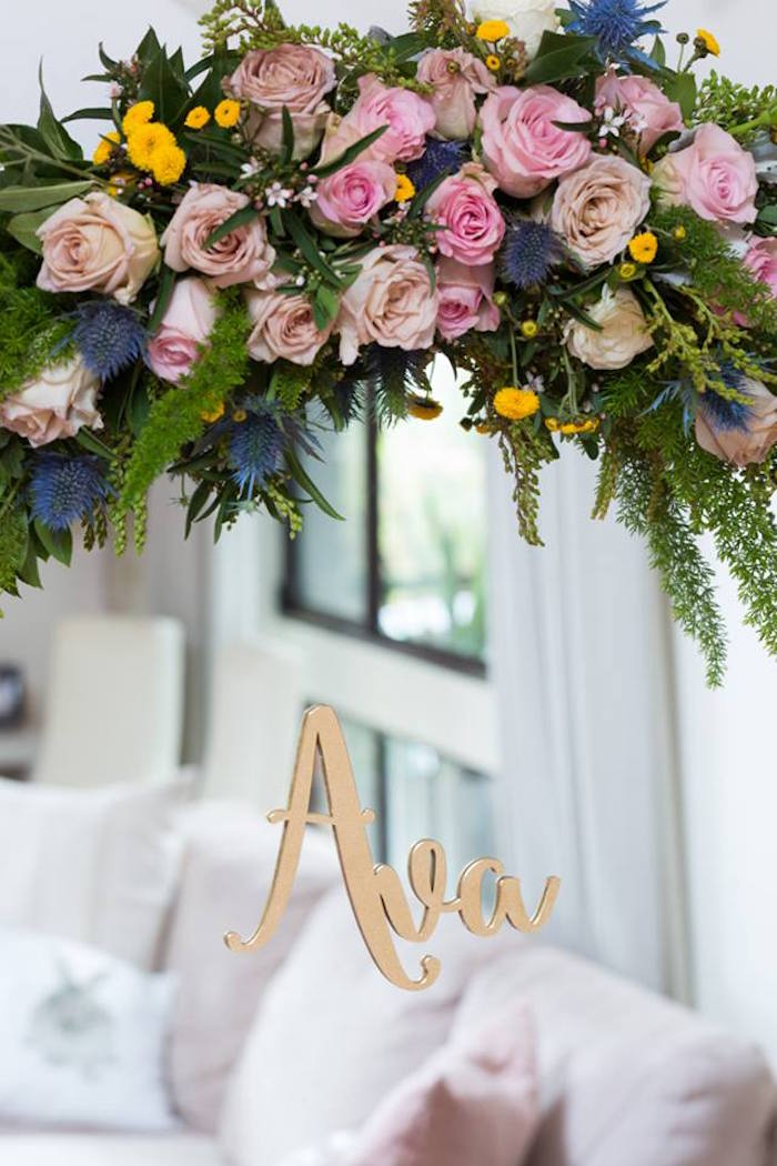 Floral arch from a Pink and Gold Princess Birthday Party on Kara's Party Ideas | KarasPartyIdeas.com (15)