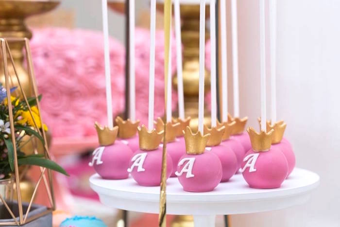 Crowned cake pops from a Pink and Gold Princess Birthday Party on Kara's Party Ideas | KarasPartyIdeas.com (14)