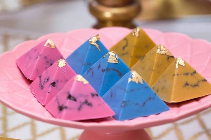 Pyramid chocolates from a Pink and Gold Princess Birthday Party on Kara's Party Ideas | KarasPartyIdeas.com (12)