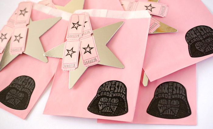 Girly Star Wars treat bags from a Pink and Sparkly Star Wars Party on Kara's Party Ideas | KarasPartyIdeas.com (9)