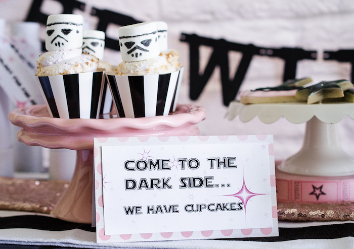 Cupcakes topped with marshmallow Storm Troopers from a Pink and Sparkly Star Wars Party on Kara's Party Ideas | KarasPartyIdeas.com (17)