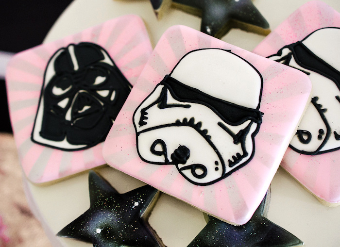 Girly Star Wars cookies from a Pink and Sparkly Star Wars Party on Kara's Party Ideas | KarasPartyIdeas.com (15)