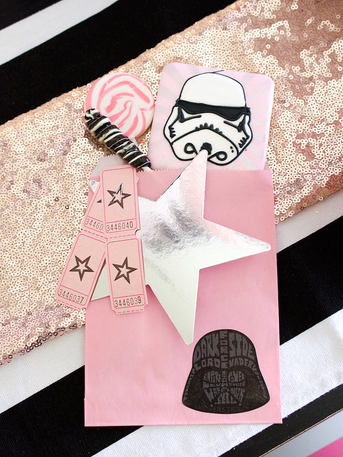 Girly Star Wars treat bag from a Pink and Sparkly Star Wars Party on Kara's Party Ideas | KarasPartyIdeas.com (14)