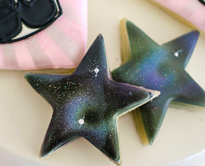 Shimmering star cookies from a Pink and Sparkly Star Wars Party on Kara's Party Ideas | KarasPartyIdeas.com (13)