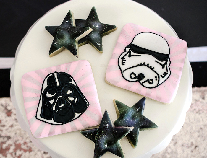 Girly Star Wars cookies from a Pink and Sparkly Star Wars Party on Kara's Party Ideas | KarasPartyIdeas.com (12)