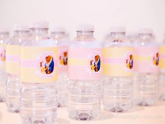 Beauty and the Beast water bottles from a Princess Belle Inspired Beauty and the Beast Birthday Party on Kara's Party Ideas | KarasPartyIdeas.com (18)