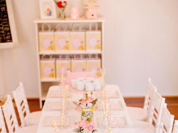 Guest table from a Princess Belle Inspired Beauty and the Beast Birthday Party on Kara's Party Ideas | KarasPartyIdeas.com (17)