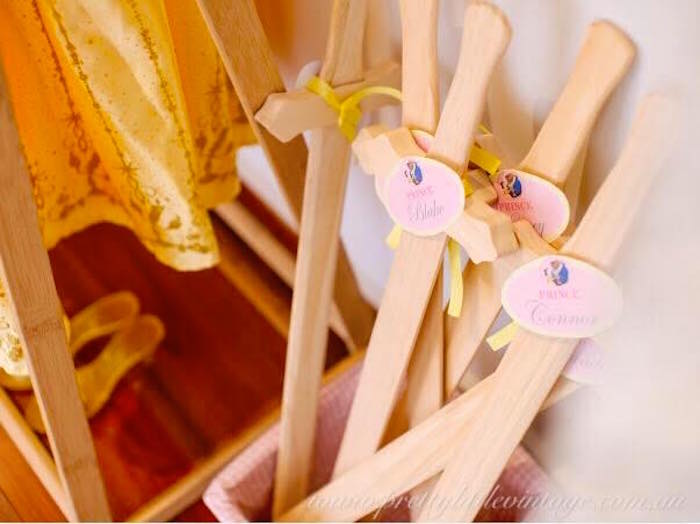 Wooden favor swords from a Princess Belle Inspired Beauty and the Beast Birthday Party on Kara's Party Ideas | KarasPartyIdeas.com (16)