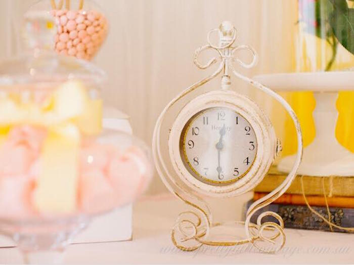 Vintage clock from a Princess Belle Inspired Beauty and the Beast Birthday Party on Kara's Party Ideas | KarasPartyIdeas.com (15)