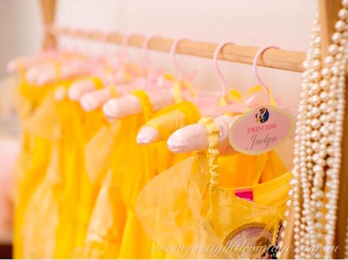 Belle favor dresses from a Princess Belle Inspired Beauty and the Beast Birthday Party on Kara's Party Ideas | KarasPartyIdeas.com (12)