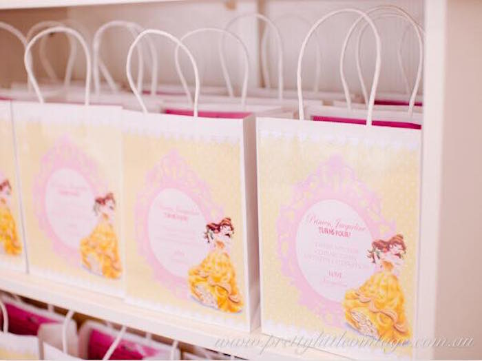 Belle favor bags from a Princess Belle Inspired Beauty and the Beast Birthday Party on Kara's Party Ideas | KarasPartyIdeas.com (9)