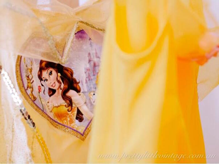 Belle dress front from a Princess Belle Inspired Beauty and the Beast Birthday Party on Kara's Party Ideas | KarasPartyIdeas.com (24)