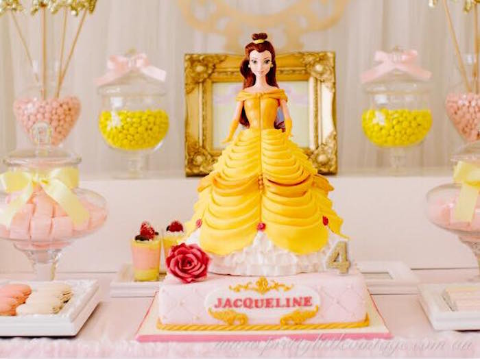 Karas party ideas princess belle inspired beauty and the beast princess belle birthday cake from a princess belle inspired beauty and the beast birthday party on filmwisefo