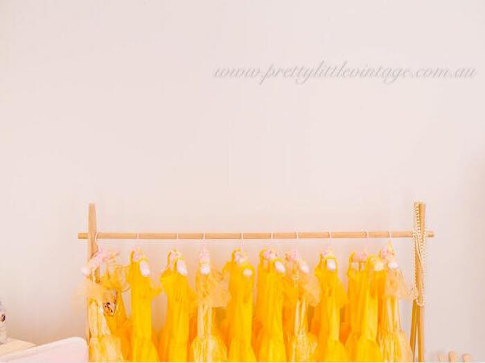 Belle favor dresses from a Princess Belle Inspired Beauty and the Beast Birthday Party on Kara's Party Ideas | KarasPartyIdeas.com (20)