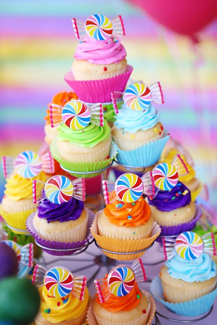 Rainbow cupcakes from a Rainbow Heart Birthday Party on Kara's Party Ideas | KarasPartyIdeas.com (12)