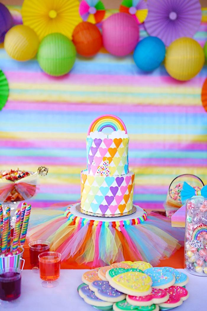 Rainbow heart cake from a Rainbow Heart Birthday Party on Kara's Party Ideas | KarasPartyIdeas.com (9)