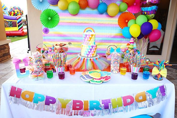 Rainbow dessert table from a Rainbow Heart Birthday Party on Kara's Party Ideas | KarasPartyIdeas.com (8)