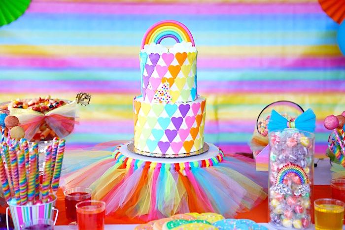 Rainbow cake from a Rainbow Heart Birthday Party on Kara's Party Ideas | KarasPartyIdeas.com (7)
