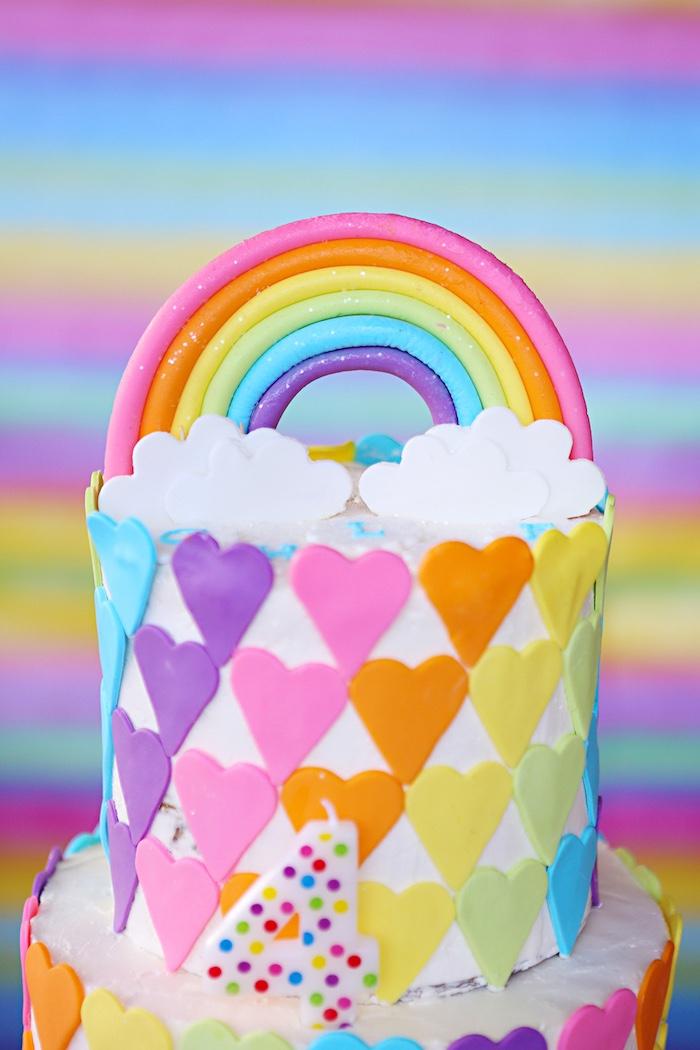 Rainbow cake top from a Rainbow Heart Birthday Party on Kara's Party Ideas | KarasPartyIdeas.com (6)