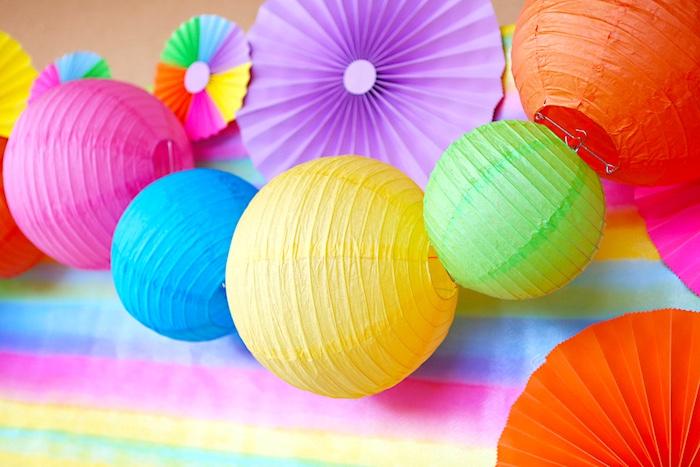 Tissue decoration backdrop from a Rainbow Heart Birthday Party on Kara's Party Ideas | KarasPartyIdeas.com (3)