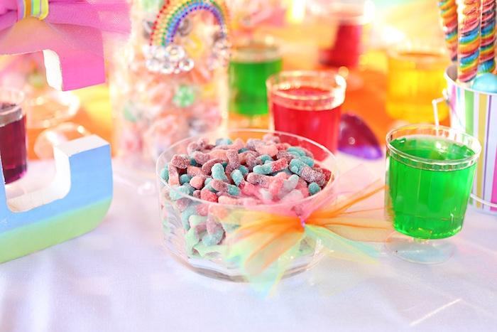 Candy dish tied with tulle rainbow ribbon from a Rainbow Heart Birthday Party on Kara's Party Ideas | KarasPartyIdeas.com (21)