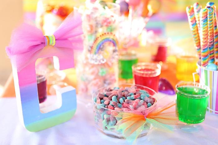 Bow tied rainbow letter from a Rainbow Heart Birthday Party on Kara's Party Ideas | KarasPartyIdeas.com (20)