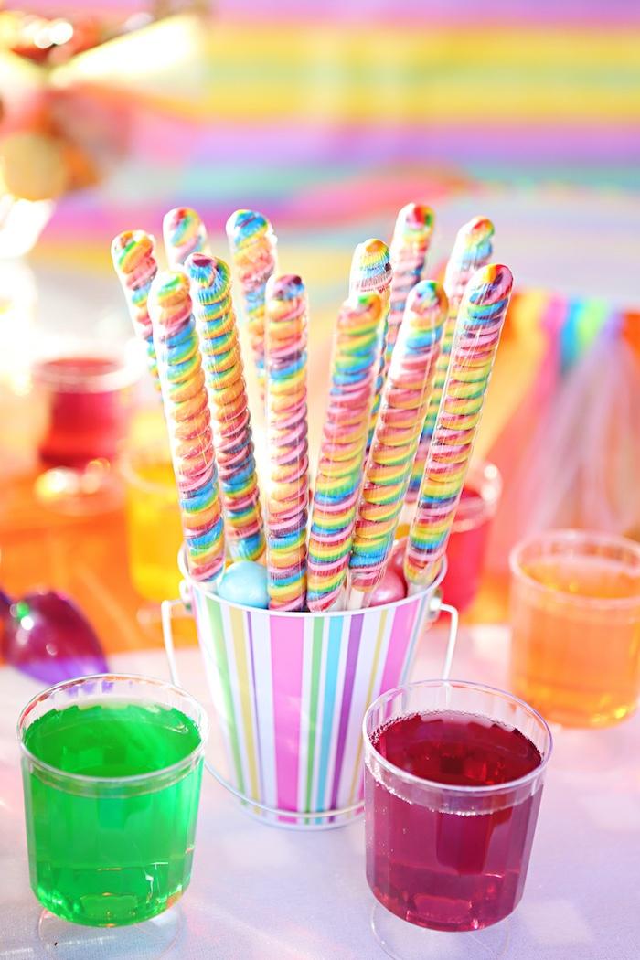 Rainbow twist lollipops from a Rainbow Heart Birthday Party on Kara's Party Ideas | KarasPartyIdeas.com (19)