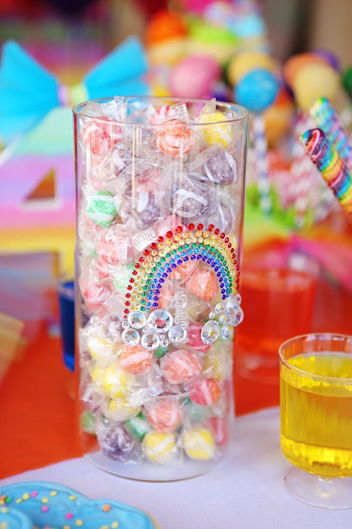 Rainbow vase filled with candy from a Rainbow Heart Birthday Party on Kara's Party Ideas | KarasPartyIdeas.com (17)