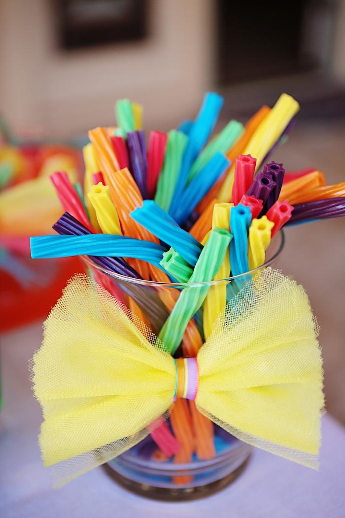Rainbow licorice from a Rainbow Heart Birthday Party on Kara's Party Ideas | KarasPartyIdeas.com (16)