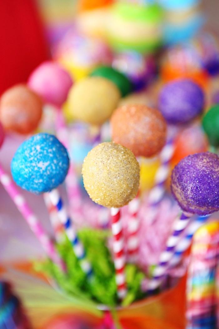 Rainbow cake pops from a Rainbow Heart Birthday Party on Kara's Party Ideas | KarasPartyIdeas.com (15)