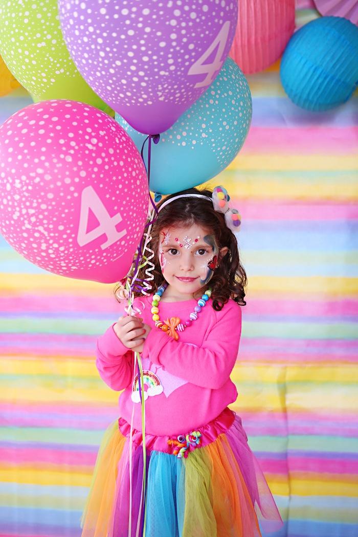 Rainbow girl + balloon bunch from a Rainbow Heart Birthday Party on Kara's Party Ideas | KarasPartyIdeas.com (14)