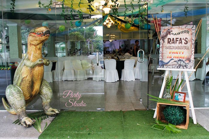 Party entrance to a Roaring Dinosaur Birthday Party on Kara's Party Ideas | KarasPartyIdeas.com (10)