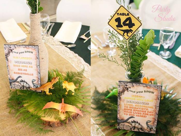 Dinosaur table centerpieces from a Roaring Dinosaur Birthday Party on Kara's Party Ideas | KarasPartyIdeas.com (9)