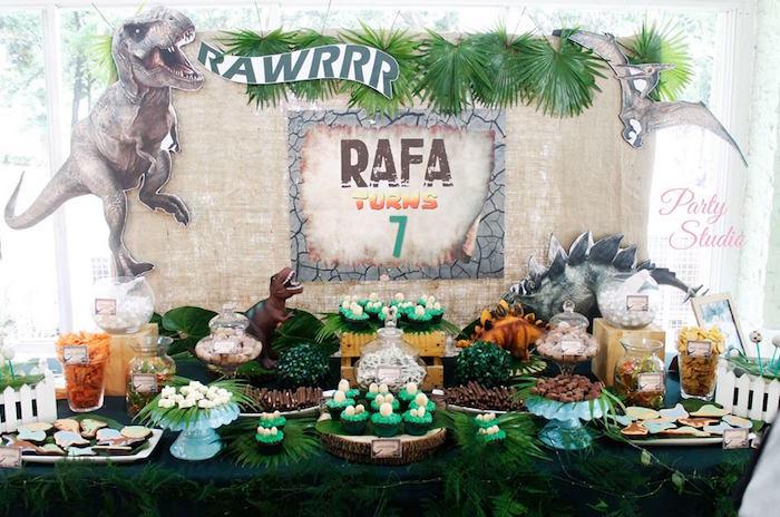 Dinosaur dessert table from a Roaring Dinosaur Birthday Party on Kara's Party Ideas | KarasPartyIdeas.com (8)