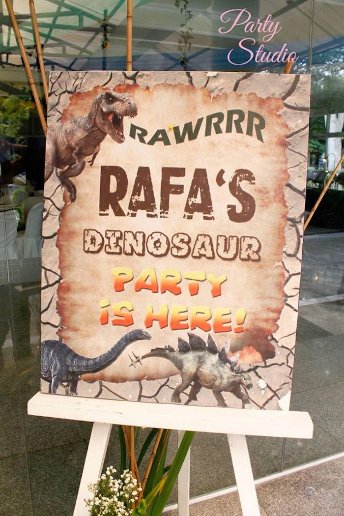 Dinosaur Party Signage from a Roaring Dinosaur Birthday Party on Kara's Party Ideas | KarasPartyIdeas.com (5)