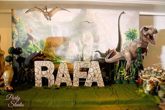 Dinosaur backdrop from a Roaring Dinosaur Birthday Party on Kara's Party Ideas | KarasPartyIdeas.com (3)