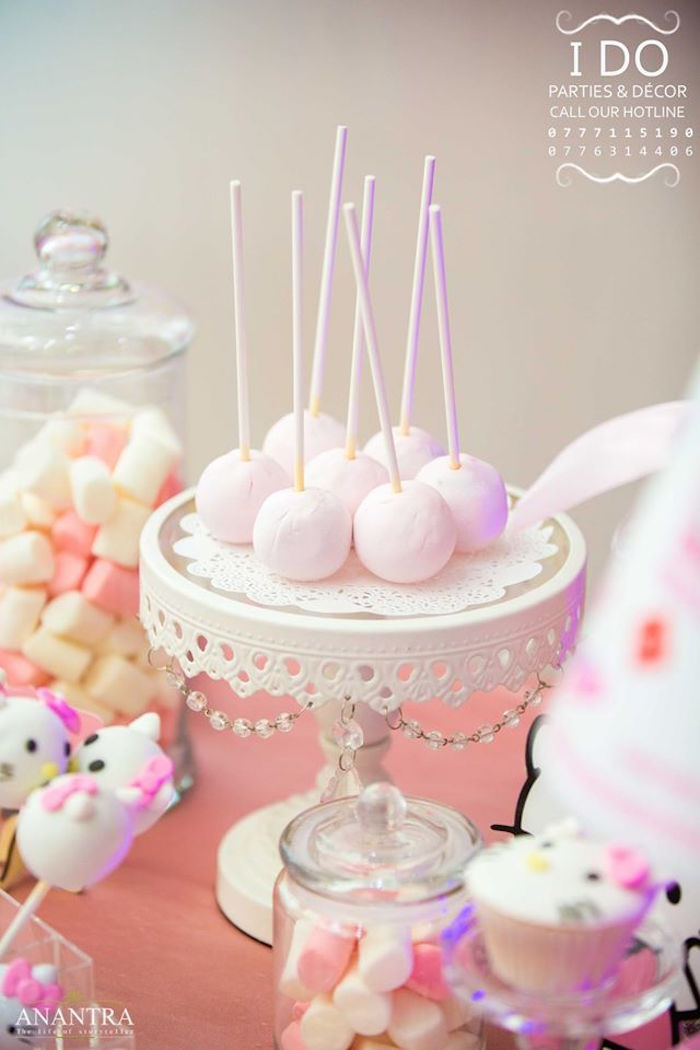 Cake pops from a Ruffled Hello Kitty Birthday Party on Kara's Party Ideas | KarasPartyIdeas.com (13)