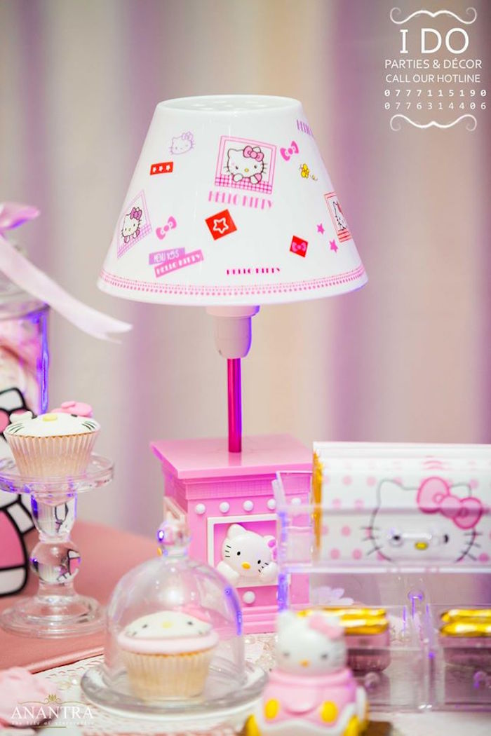 Hello Kitty Lamp from a Ruffled Hello Kitty Birthday Party on Kara's Party Ideas | KarasPartyIdeas.com (12)